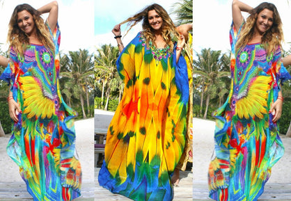 Kaftan in silk amazing feather and leopard print.