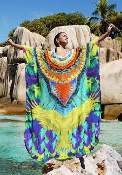 SOLD OUT Pre-Order 3 Weeks. Kaftan in silk spreading wings. Florida