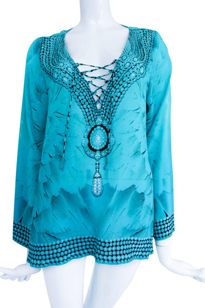Blouse lace-up blue. Angel