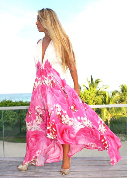 Dress in silk pink Roses. Love