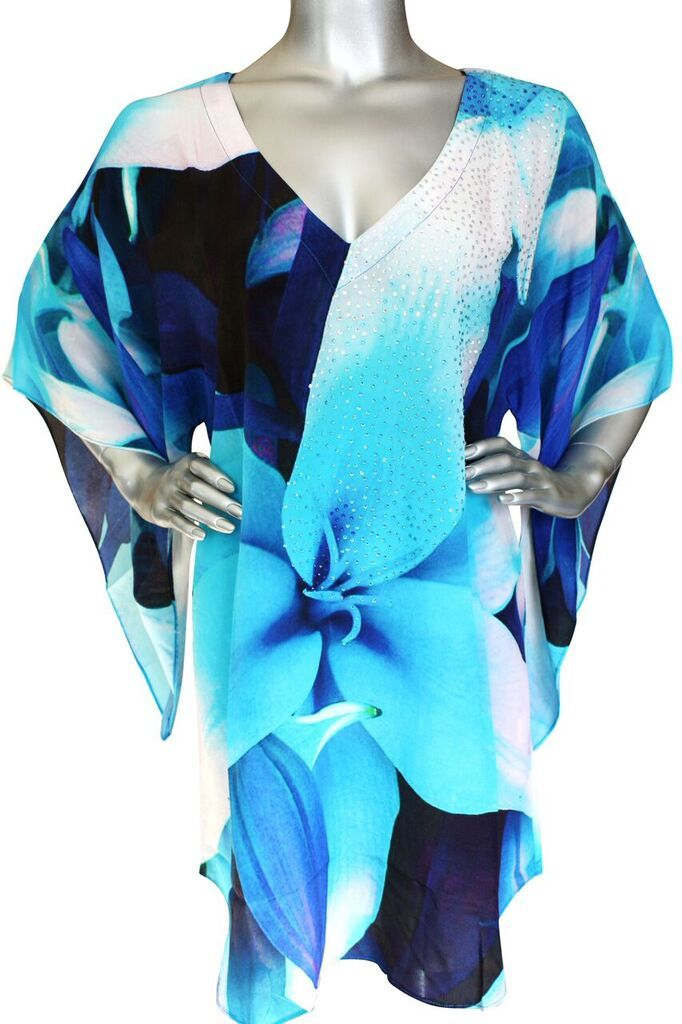 SOLD OUT Pre-Order 3 Weeks. floral silk tunic blue. Picassso