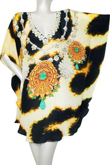 tunic leopard fur jeweled necklace.