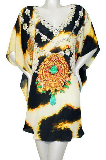 Tunic leopard fur jeweled necklace. Sahara