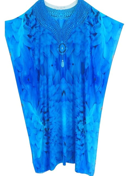 Kaftan in silk majestic plumage glistening necklace. Angel ...