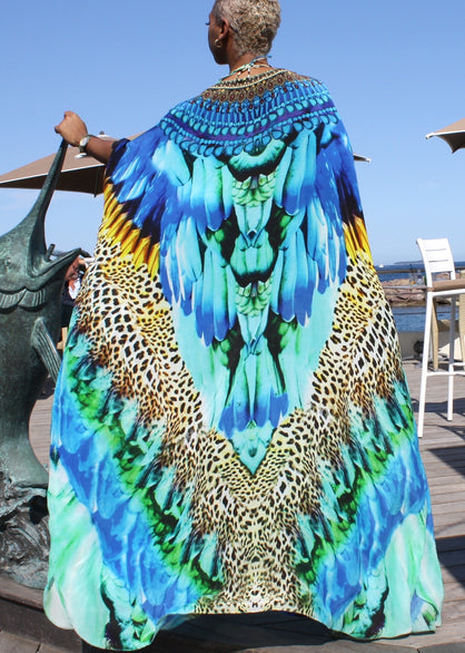 Skirt in silk feathers print. Cote d'azur