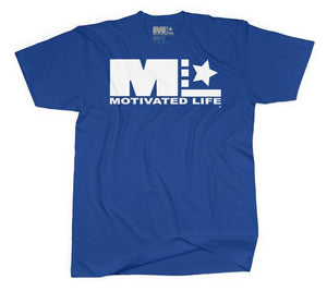Motivated Life - Unisex Signature Tee - White on Blue