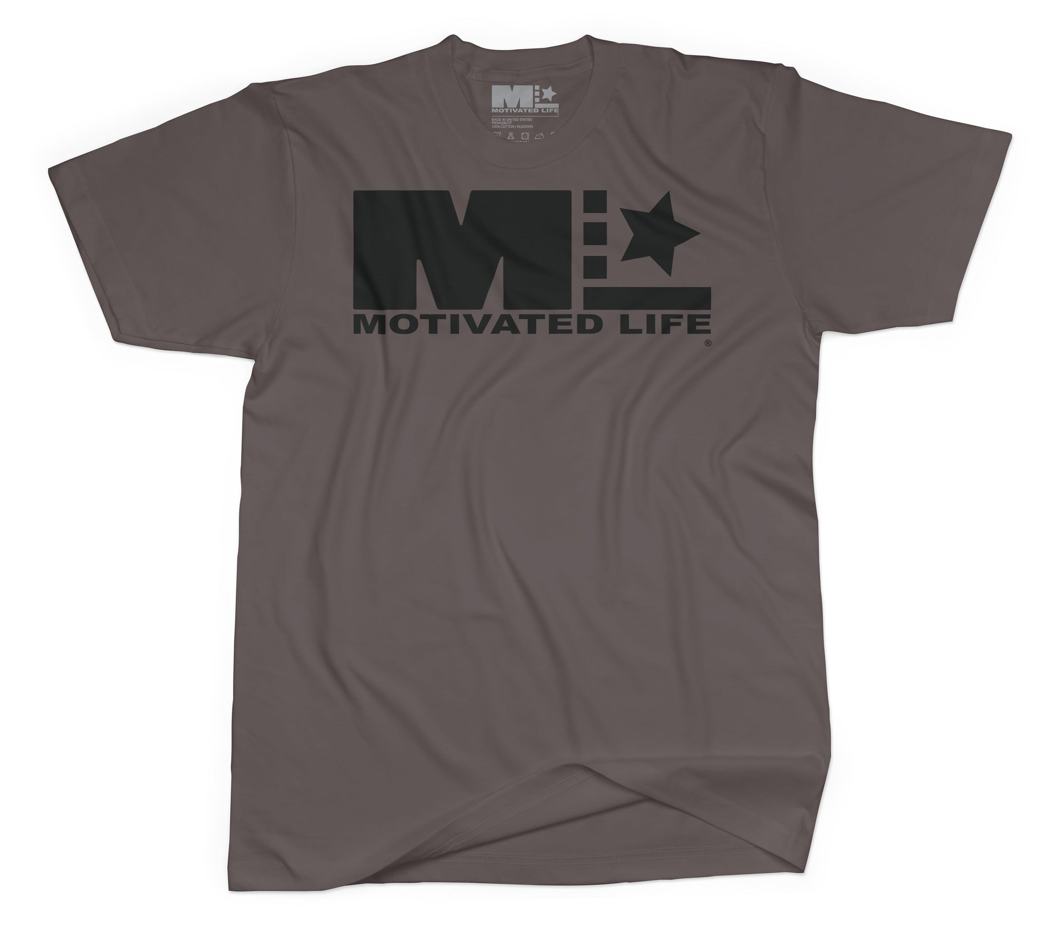 Motivated Life - Unisex Signature Tee - Black on Army Brown