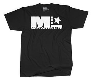 Motivated Life - Unisex Signature Tee - White on Black