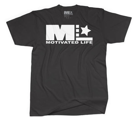 Motivated Life - Unisex Signature Tee - White on Charcoal Grey
