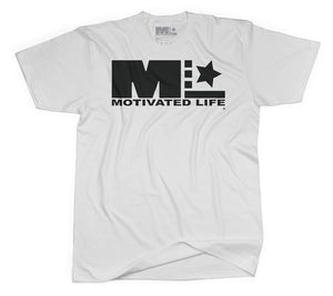 Motivated Life - Unisex Signature Tee - Black on White