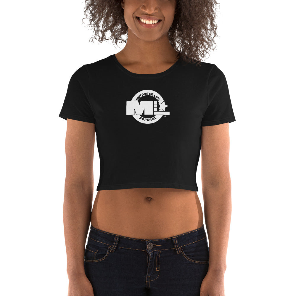 Motivated Life - Women's Crop Tee in Black