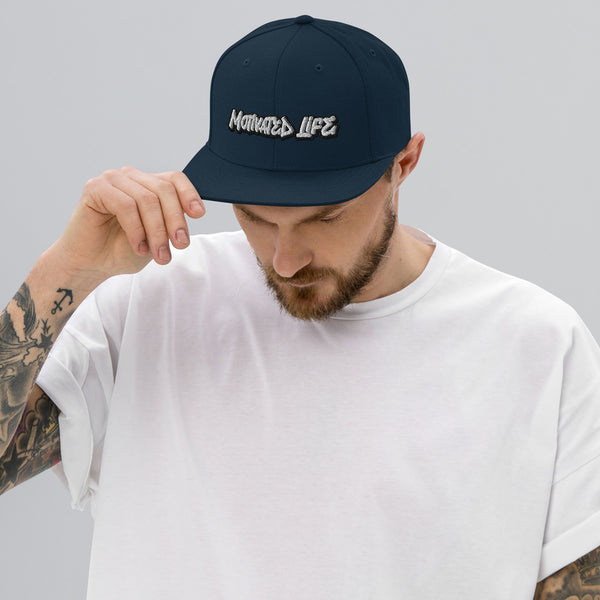 Motivated Life - Snapback - Navy Blue with White Graffiti Logo