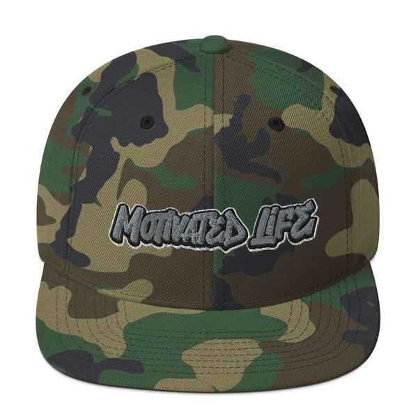 Motivated Life - Snapback - Camo with Grey Graffiti Logo