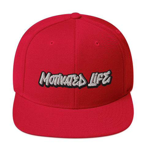 Motivated Life - Snapback - Red with White Graffiti Logo