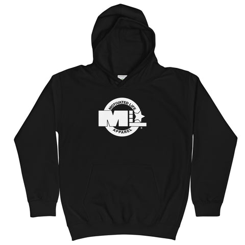 Motivated Life - Black Classic Kids Hoodie with Superhero Logo