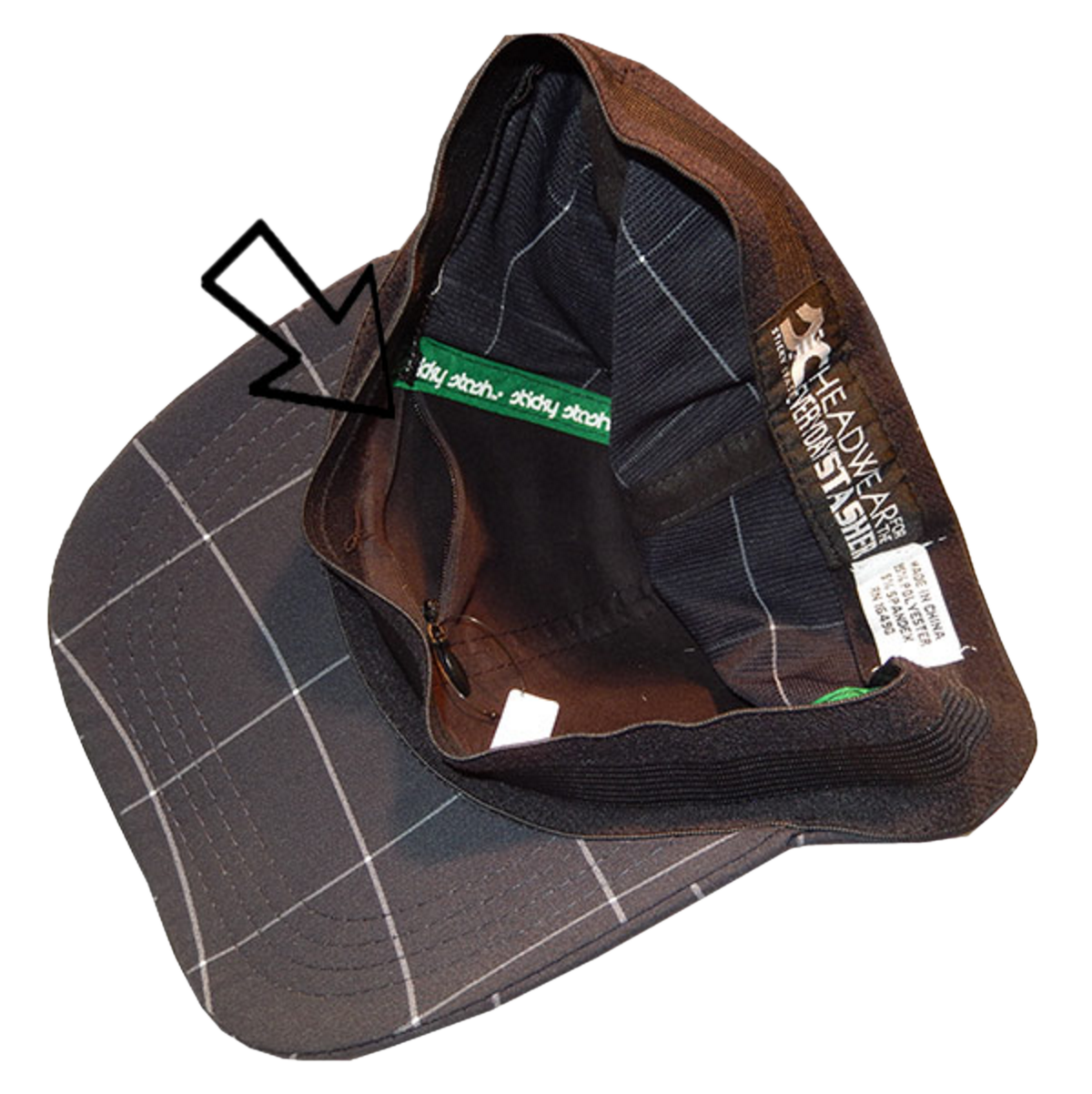 Dark Plaid Flex Fit Unisex Adjustable Cap with Pocket and Zipper