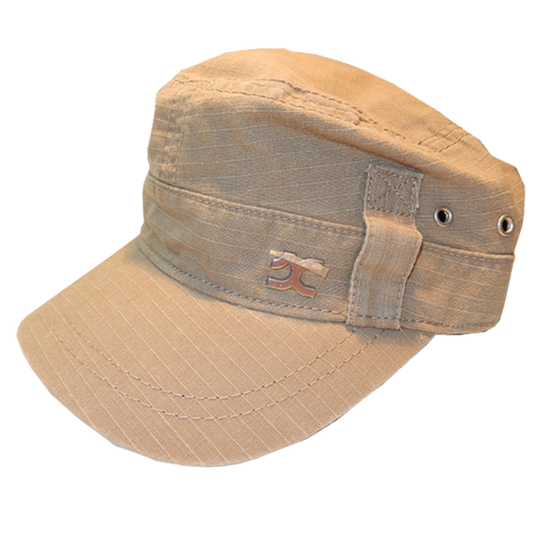 Khaki Military Cap Unisex Adjustable Cap with Pocket and Zipper