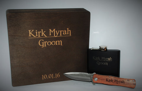 cigar box flask knife custom engraved
