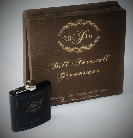 custom flasks and cigar boxes