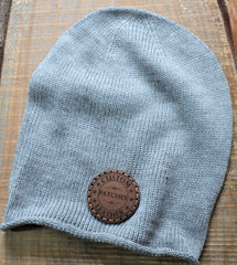 Beanie Hat with Custom Leather Patches