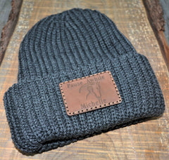 Chunky Knit Hat with Custom Leather Patches