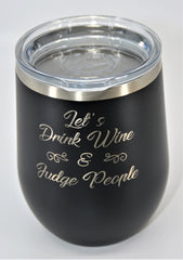 Custom Engraved Stainless Steel 12OZ Wine Tumbler - Stemless Wine Glass