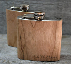 Cherry Wood Engraved Flask