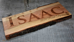 Cherry Wood Custom Signs: Text and Graphic