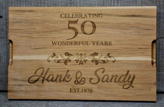 Custom Solid Maple Cutting Board Wedding Anniversary Design 71