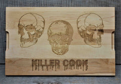 Custom Solid Maple Cutting Board Skulls Design 69