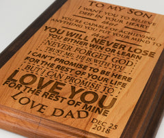 To My Son/Daughter Two Tone Wooden Plaque