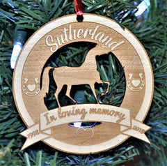 Christmas Ornament - Horse in memory of