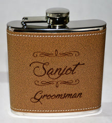 Leather Custom Engraved Flasks Design 14