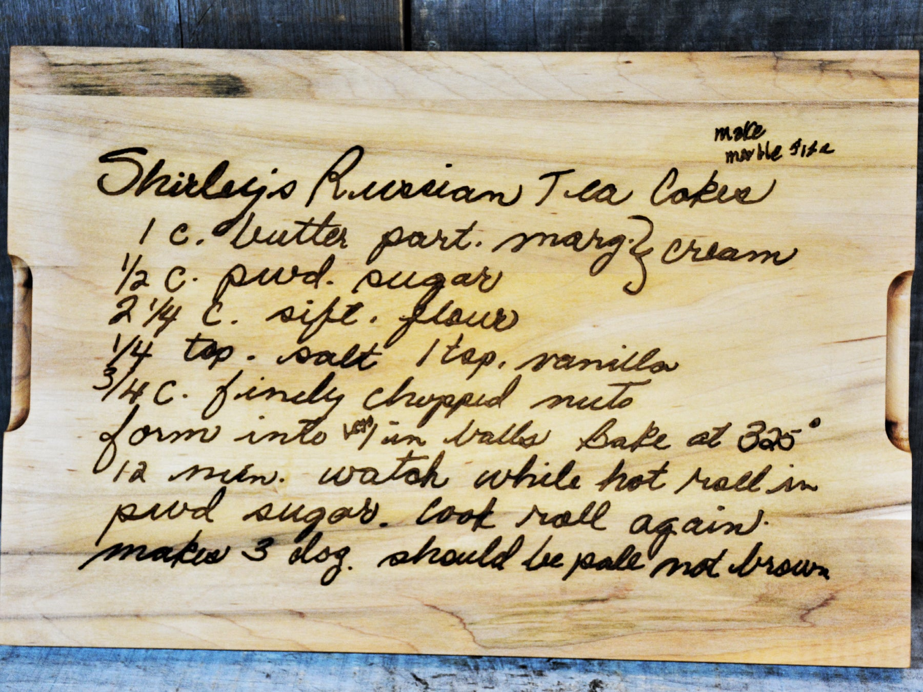 recipe engraved on cutting board