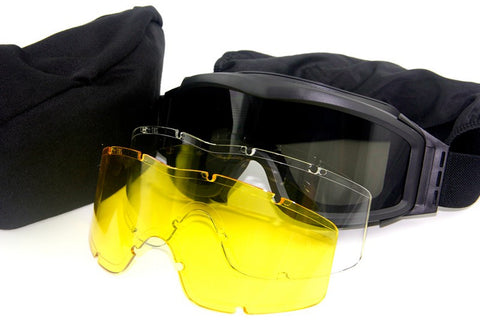 Military Grade Goggles with 3 Interchangable Lenses