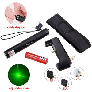 Military Grade 5MW Adjustable Focus Laser Pointer with Battery Charger