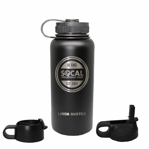 SoCal Stainless Steel Water Bottle with Three Lids and Two Straws