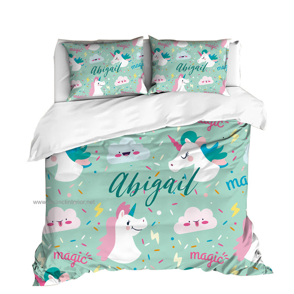 Distinct Interior Personalized Unicorn Bedding Set With Name, Teal Magic Unicorn; Europe US & AU Size