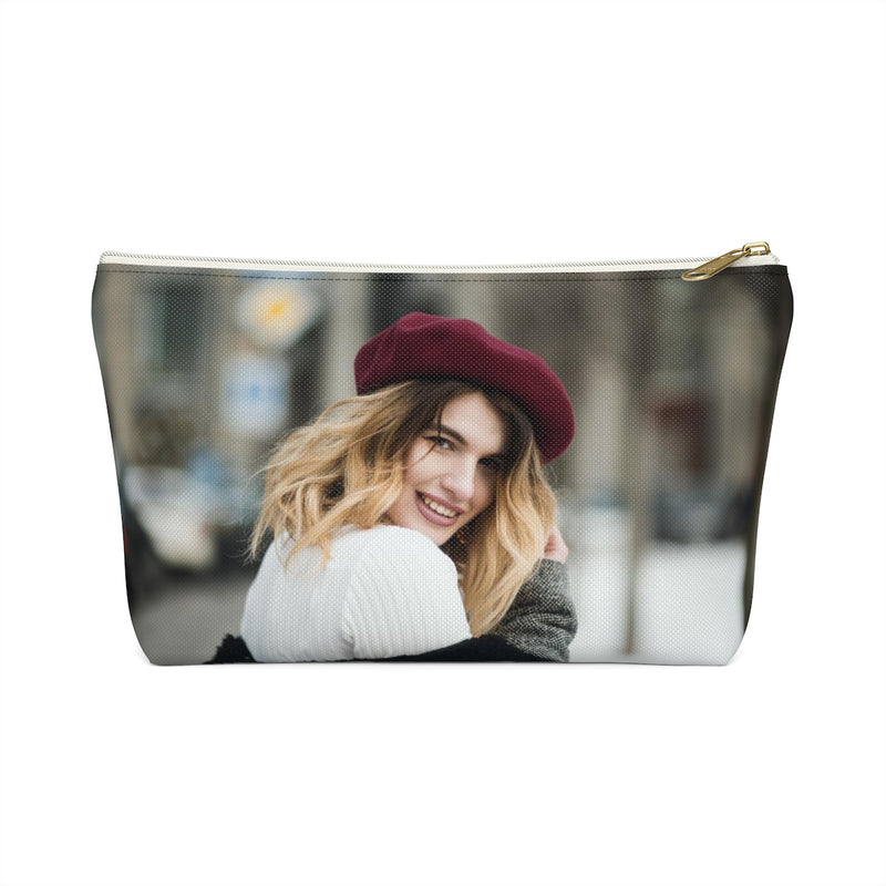Accessory Pouch With T-bottom With Photo & Monogram in Christmas Theme