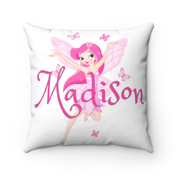 Personalized Pink Fairy With Name Spun Polyester Square Pillow