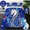 Distinct Interior Personalized Blue Unicorn Bedding Set With Name