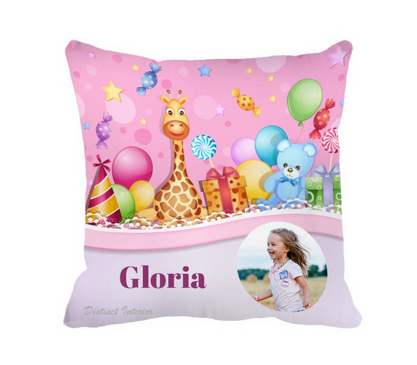 Custom Pink Safari Birthday Theme Cushion Cover With Photo And Name