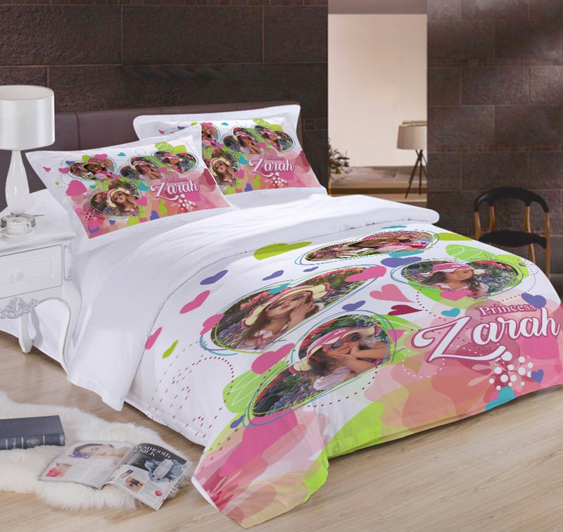 Distinct Interior Personalized Pink Floral Heart Bedding Set With Photo & Name For Girl