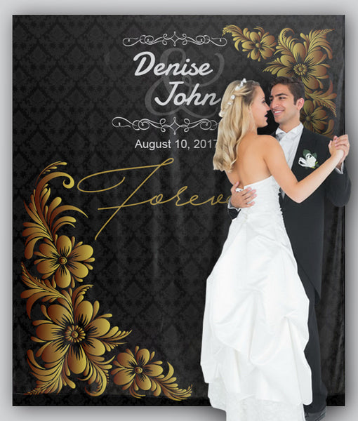Customized Gold And Black Damask Forever Wedding Tapestry Backdrop