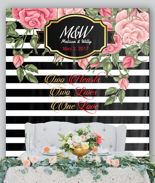 Customized Floral Wedding Tapestry Backdrop With Couple's Name, Wedding date And Love Quotes