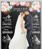 Customized Wedding Photo Shoot And Couple's Table Backdrop Floral on Black With Text
