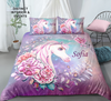 Distinct Interior Personalized Floral Purple Unicorn Bedding Set With Name; Bedding Set For Girl's Room; Custom Bedding Set; Christmas Gift