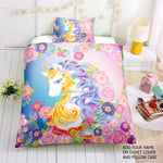 Floral Golden Horn Unicorn Bedding Set