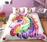Distinct Interior Personalized Rainbow Unicorn Bedding Set With Name