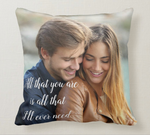 Valentines Gift Personalised Satin Lumbar Pillow Case With Photo and Custom Text